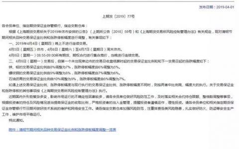 上海期货交易所清明节期间相关品种交易保证金比例和涨跌停板幅度调整一览表