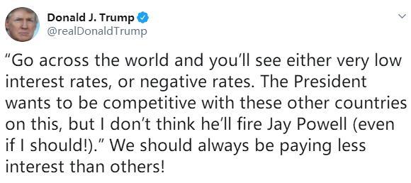 特朗普周日再发推文呼吁美联储实施负利率