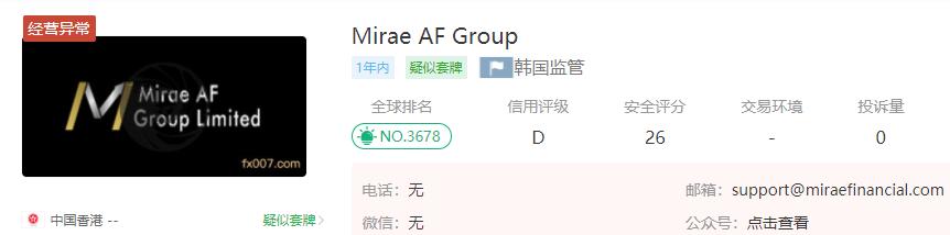 Mirae AF Group外汇平台怎么样