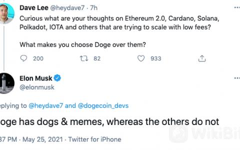 马斯克首次回应为何选择狗狗币